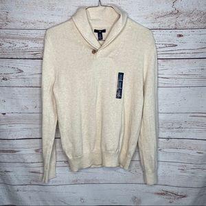 gap mens shawl neck oatmeal heath sweater sz small